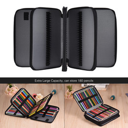 $enCountryForm.capitalKeyWord Australia - 180 Slots Color Pencil Case Extra-large Capacity Bag Pu Leather Zippered Portable With Handle Strap For Kids Student School Y19062803