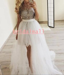 $enCountryForm.capitalKeyWord Australia - Sexy Rhinestones Tulle High Low Prom Dresses 2020 See Through Beaded Crystals Formal Party Gowns Detachable Train Cocktail Homecoming Dress