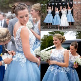 Line Scoop Knee Length Dresses NZ - 2019 Scoop Lace Top Appliques A-Line Short Bridesmaids Dresses Tulle Knee Length Formal Vestidos De Bridesmaid Prom Gowns Honor Of Maid