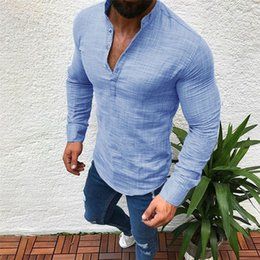 $enCountryForm.capitalKeyWord Australia - 2019 Men Summer New Fashion Casual Basic Slim Shirts Men Linen Long Sleeve V Neck Button Up Shirts Male Casual Fit Blouse #40