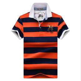 Discount polo brand logo - 2019 new summer High quality stripe embroidery logo Polos classic brand Men Polo Shirt Men Business Casual solid Short S