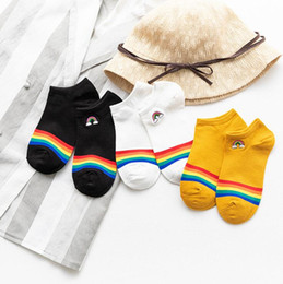 wind socks wholesale NZ - New women's college wind cute rainbow boat socks cotton embroidery trend socks trend wholesale
