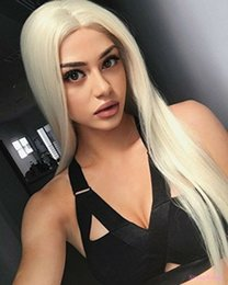 Hand Tied Lace Front Wigs Australia - Platinum Blonde Lace Front Wigs Women Silk Straight Long Glueless Half Hand Tied