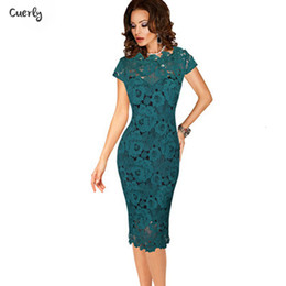 working robes Australia - Summer Office Ladies Dresses Elegant Womens Sexy Lace Hollow Out Knee Length Office Work Business Sheath Bodycon Dress Robe Crayon
