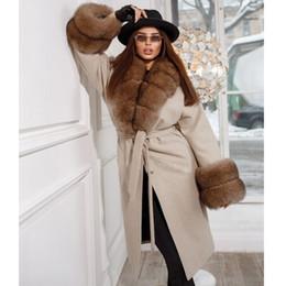 Wholesale cashmere capes fox fur for sale - Group buy Fandy Lokar Fox Fur Collar Cloaks Women Fashion Tie Belt Waist Capes Women Elegant Cashmere Long Coats Female Ladies IAB T191111