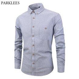 cf7cc259dc5 Mens Casual Button Down Dress Shirts 2019 Fashion Striped Shirt Men Slim Fit  Long Sleeve Cotton Shirt with Pocket Chemise Homme