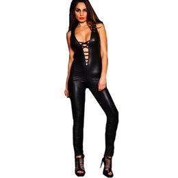 04673a47f3484 2019 New Fashion Women s Sexy Faux Leather V-neck Bodysuit Costume Plus Size  Nightclub Catsuit