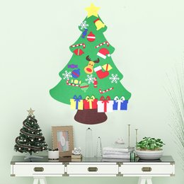 wall puzzle Australia - DIY Felt Christmas Tree Set Door Wall Hanging Ornaments Home Decor Kids New Year Gift Handmade Puzzle Artificial Xmas Tree100*77