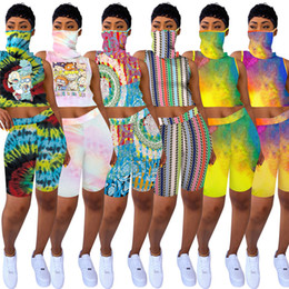 Discount summer hiking mask Women Rugrats 2 Piece Set Tank Tops+Shorts Jogger Suit With Mask Sleeveless Cartoon Pullover Outfits S-2XL Breathable Tr