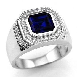 $enCountryForm.capitalKeyWord NZ - Fashion Men's Jewelry 10KT White Gold Filled Blue Sapphire Ring Exquisite Sidestone Inlay Engagement Ring Size 7-14