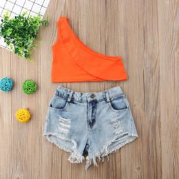 $enCountryForm.capitalKeyWord Australia - Girls suit summer cotton trend orange strapless hole + hole denim shorts suit explosion models European and American children's clothing