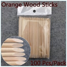 100x Nail Art Design Orange Wood Stick Cuticle Pusher Remover Manicure Care