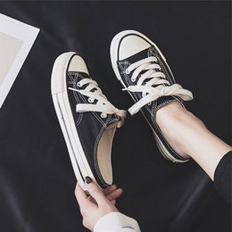 Pedal Orange Australia - Bright2019 Small Tuo Ban White Schoolgirl Nothing Heel One Pedal Dawdler All-match Shoes Canvas Shoe