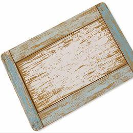AquA mAts online shopping - Old Vintage Weathered Wooden Planks Pattern Doormat Modern Aqua Turquoise Blue Wood Door Mat Rug Carpet for Beach House Carbin