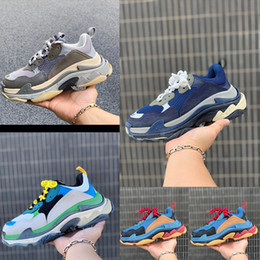 open toe nude color shoes 2019 - 2019 new Paris high quality 17FW Triple-S casual shoes designer men and women casual shoes high quality mixed color thic