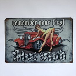 $enCountryForm.capitalKeyWord NZ - Remember Your First Hot Rod Younger Decor Vintage Retro Tin Sign Sexy Women Coke Cafe Bar Pub Home Office Wall Metal
