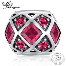 Ruby Charms Australia - JewelryPalace 925 Sterling Silver Created Red Ruby Hexagonal Symmetric Charm Beads Fit Bracelets As Gifts For Women Fine Jewelry