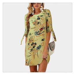 collar neck design for women UK - Exquisite Dress New Designed Women Chiffon Printed Pattern Round Neck Collar Seven Length Sleeve Varies Pattern For Girl Women