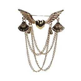wing collar brooches NZ - 2020 designer brooch Love Wings brooch with tassel jewelry retro multi-layer chain collar pin button set clothing accessories jewelry
