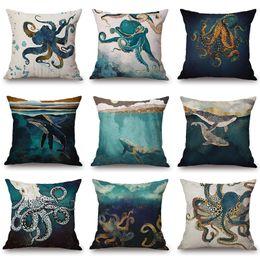 Ocean Pillow Case NZ - Marine Whale Octopus Cushion Cover Watercolor Painting Blue Ocean 45X45cm Thick Linen Cotton Pillow Case Sofa Chair Decoration