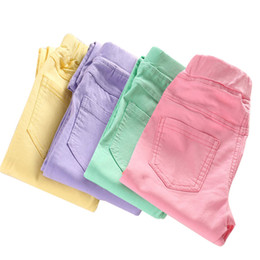 Children S Tight Leggings Australia - 2019 Spring Summer Girls Leggings Tight Pants Kids Pants Elastic Children Candy Color Full Length Pants