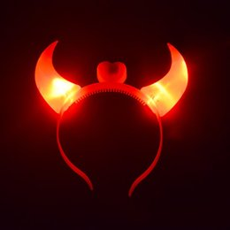 flashing devil horn headband UK - LED Devil Horn Light Up Headband Flashing Horn Halloween Christmas Party Decor E65B