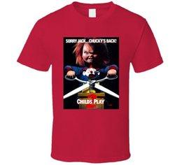 Чайлдс Play 2 Классический Chucky Doll Horror Poster футболка на Распродаже