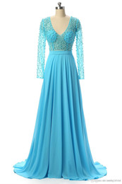 $enCountryForm.capitalKeyWord UK - Long Sleeve Prom Dresses Sexy See Through Deep V Neck Ice Blue A Line Evening Gowns Beads Pearls Formal Party Dresses JMC51
