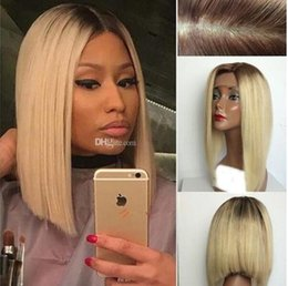 Ombre Peruvian Full Lace Wigs Australia - 10A 1B 613 Blonde Human Hair Wigs With Baby Hair Peruvian Virgin ombre Bob Lace Front Wigs Blonde Full Lace Wig For Black Women