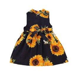 41b86cab2 Summer baby girls dress Sunflower Sleeveless Print Dress cotton comfortable  princess for 0-5 T