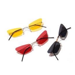 9503e8d7ba narrow butterfly sunglasses men rimless summer 2019 red blue black  rectangular cat sun glasses for women small face hot FML