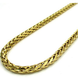 "$enCountryForm.capitalKeyWord Australia - 24"" 4mm 14k Yellow Real Gold Plated Franco Wheat Italy Woven Chain Necklace Mens"