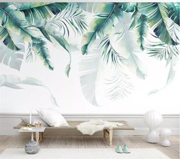 banana paper NZ - Custom Photo Wallpaper Retro Tropical Rain Forest Palm Banana Leaves Wall Mural Cafe Restaurant Backdrop 3d wallpaper