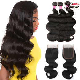 Wholesale 8A Body Wave Bundles With 4X4 Lace Closure Unprocessed Brazilian human hair Bundles with Lace Closure Body wave human hair on Sale