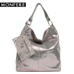 5dc005e380 MONFERE Women Leather Shoulder Bags Luxury Snake Pattern Hobos Genuine  Leather Large Soft Bags Female Messenger Coin Purse
