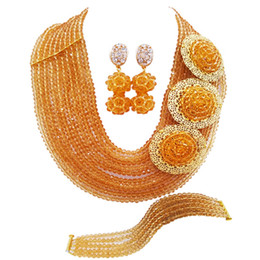 $enCountryForm.capitalKeyWord Australia - Champagne Gold African Jewelry Set Nigerian Folk Beads Wedding Accessories Party Necklace Bracelet Earrings 10SPH02