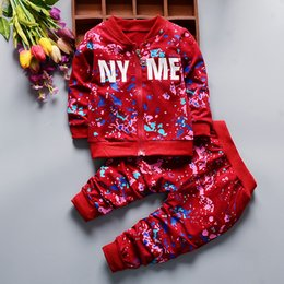 toddler boy 4t Australia - kids tracksuit set boys Autumn Winter Print Ink Clothing Suits Children Jacket Pants 2Pcs Sets Girl Boys Clothes Toddler Tracksuits