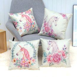 9d9d96599d8 Creative Unicorn Cushion Cover Cute Unicorn Rose Flower Throw Pillow Case  For Sofa Cotton Linen Decorative Pillowcase Cover