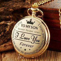 """Vintage Silver Black Gold """"a mi hijo"""" Láser Word Men Boy Analog Quartz Bolsillo Reloj Colgante Cadena Niños Niños Relojes Regalos en venta"""