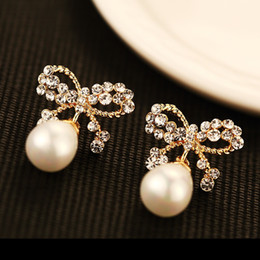 rhinestone bows Australia - New trendy fashion luxury designer cute beautiful crystal diamond rhinestone bow pearl stud earrings for woman