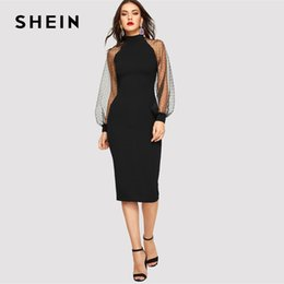70efb7c5ef06 SHEIN Party Black or Blue Pencil Bodycon Dress With Jacquard Contrast Mesh  Lantern Sleeve Spring Women Long Sleeve Solid