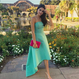 Discount short aqua prom dresses - Fashion Aqua Bridesmaid Dresses Short Front Long Back Country Style Satin Hi Lo Cheap Wedding Guest Prom Formal party Dr