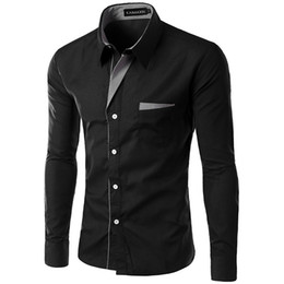 Shirt Korean Designs Australia - Dropshipping New Fashion Brand Camisa Masculina Long Sleeve Shirt Men Korean Slim Design Formal Casual Male Dress Shirt