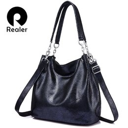 blue ladies handbags Australia - Realer Genuine Leather Handbags Female Large Messenger Bag Women Shoulder Bags Fashion Ladies Top-handle Bags High Quality Totes Y190620