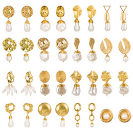 Discount freshwater shells Freshwater Pearl Earrings Pendant Gold Plated Earrings Irregular Matte Shell Earrings Minimalist Drop Earring For Women
