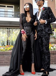 Wholesale black chiffon jumpsuit resale online – 2019 Sexy Prom Dresses With Detachable Train Stunning Jumpsuit Black Evening Dress Long Sleeves Sequins Beaded Party Gowns
