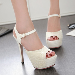 sexy super high heels shoes Canada - fanyuan Sexy Sandals Peep Toe glitter Summer Platform Sandals Women rhinestone Party Super High Heels Shoes Woman Size 32-43