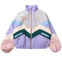 Wholesale cute bomber jackets for sale – winter 2020 Windbreaker Women Pastel Bomber Jackets Cute Coat Women Embroidery Color Autumn Sport Jacket Japanese Girls Harajuku Style