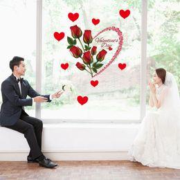 $enCountryForm.capitalKeyWord Australia - Romantic Love Red Rose Flowers Wall Sticker Wedding Decoration Valentine's Day Present Window Self-adhesive Art Mural PVC Poster