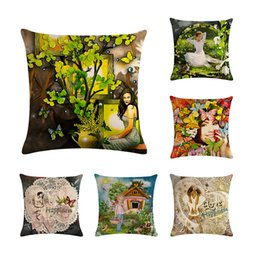 Painting oil Paints online shopping - Girl Flower House Cushion Covers Pattern Art Oil Painting Deer Butterfly Pillow case X45cm Bedroom Sofa Decoration ZY329